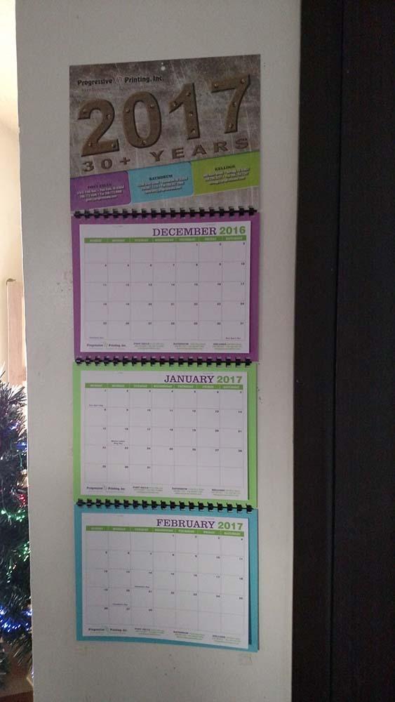 Progressive Printing 2017 calendar